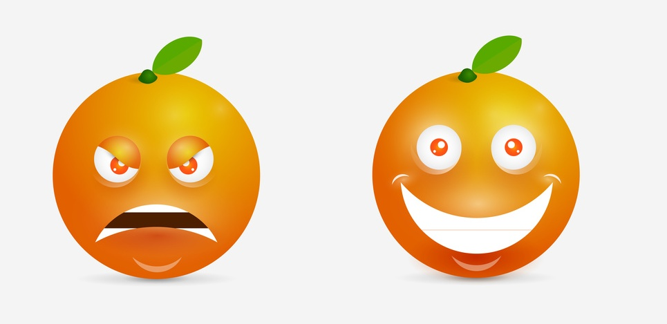 Orange cartoon with many expressions. Design inspiration for characters.